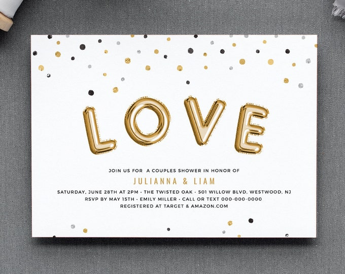 Couples Shower Invitation Template, Gold Foil Balloon Love, Confetti Bridal Shower Printable, Editable Text, INSTANT DOWNLOAD #028-180BS