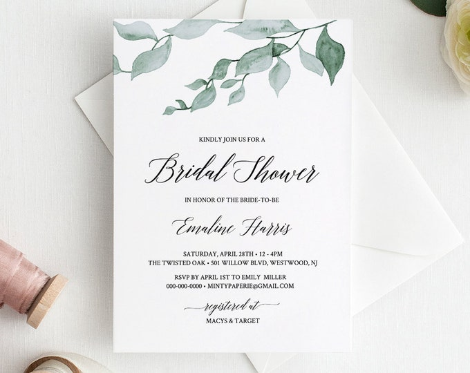 Bridal Shower Invitation Printable, Greenery Wedding Shower Invite, Watercolor Leaves, 100% Editable Template, Instant Download #019-106BS