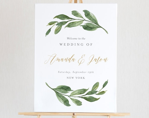 Greenery Welcome Sign Template, Printable Wedding Poster, Bridal Shower Welcome, 100% Editable Text, Instant Download, 4 Sizes #067-138LS