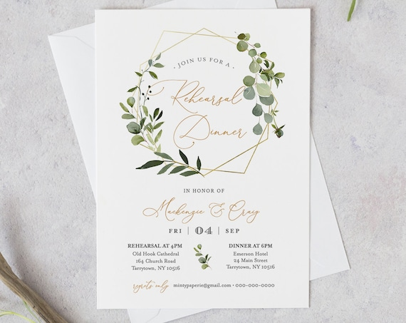 Greenery Rehearsal Dinner Template, INSTANT DOWNLOAD, 100% Editable Text, Printable Rehearsal Invite, DIY, Templett, Digital #056-131RD
