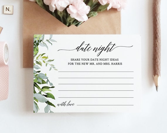 Date Night Ideas Card, Wedding Printable, Editable Template, Personalize Names, Instant Download, Watercolor Greenery, Templett #016-109EC