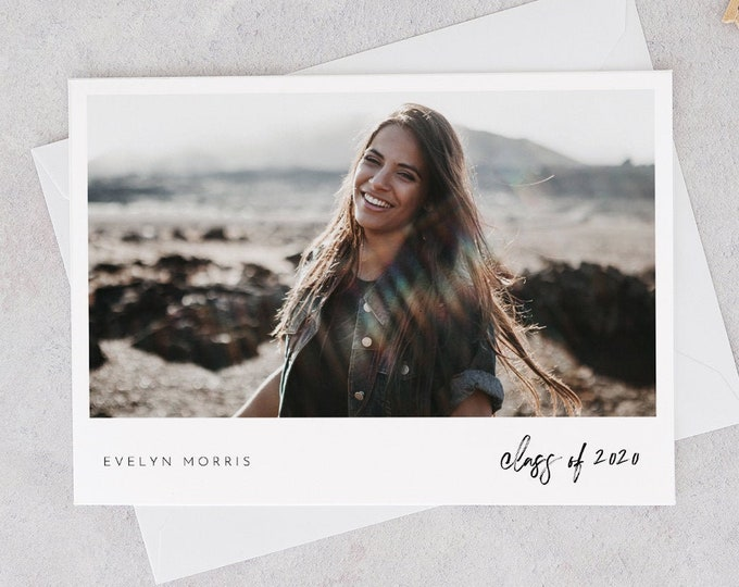 Photo Graduation Announcement 2020, Editable Template, Graduate Postcard, Senior Photography Card, Instant Download, Templett, 5x7 #107GA