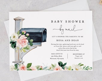 Baby Shower by Mail Template, Social Distancing Baby Shower Invite, Mailbox Post, Editable Text, Instant Download, Templett #154BA