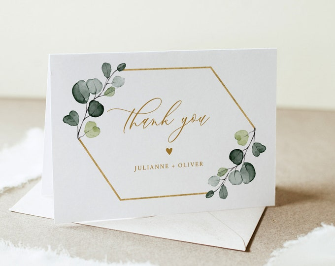 Greenery Thank You Folded Card Printable, Bohemian Wedding / Bridal Shower Note, Editable Template, INSTANT DOWNLOAD, Templett #007-167TYC