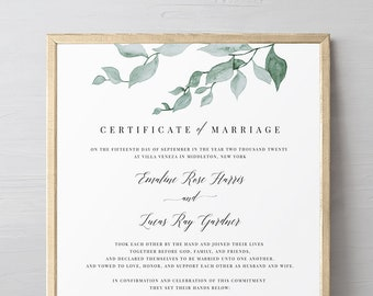 Greenery Certificate of Marriage, Wedding Certificate, Wedding Keepsake, Editable Text, Instant Download, 8x10, 16x20 #019-105MC