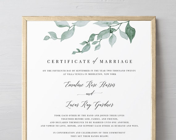 Greenery Certificate of Marriage, Wedding Certificate, Wedding Keepsake, Editable Text, Instant Download, 8x10, 16x20 #019-105MC