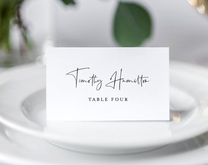 INSTANT DOWNLOAD, Wedding Place Card Template, 100% Editable, Printable Escort Card, Modern Script Name Card, Templett, Flat and Tent #129PC