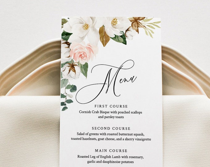 Wedding Menu Template, Southern Magnolia Menu Card, Printable DIY Dinner Menu, INSTANT DOWNLOAD, 100% Editable Text, 5x7 & 3.65x9 #015-137WM
