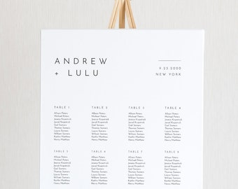 Minimalist Seating Chart Poster, Modern and Simple Wedding Seating Sign, Instant Download, Editable Template, Templett, US & UK #094-260SC