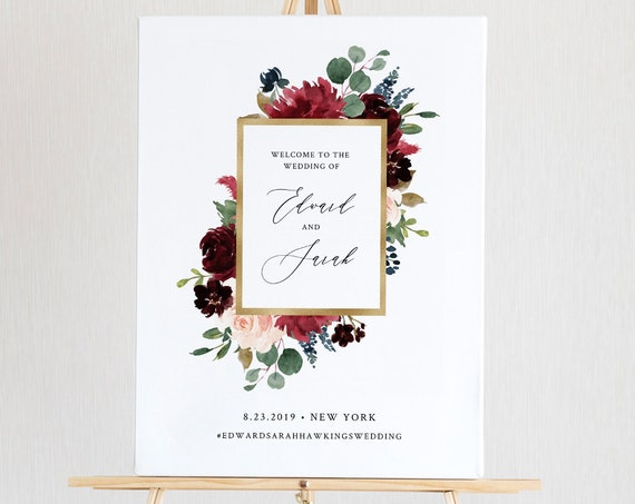 Merlot Welcome Sign Template, Printable Boho Floral & Greenery Wedding or Bridal Shower Poster, Instant Download, Editable Text #062-133LS