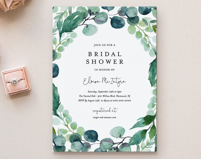 Bridal Shower Invitation Template, Self-Editing Wedding Shower Invite, Printable Lush Garden Greenery, Editable, Instant Download 068B-188BS