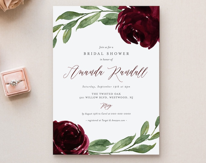 Bridal Shower Invitation Template, Printable Boho Burgundy Florals & Greenery Shower Invite, 100% Editable Text, INSTANT DOWNLOAD #067-183BS