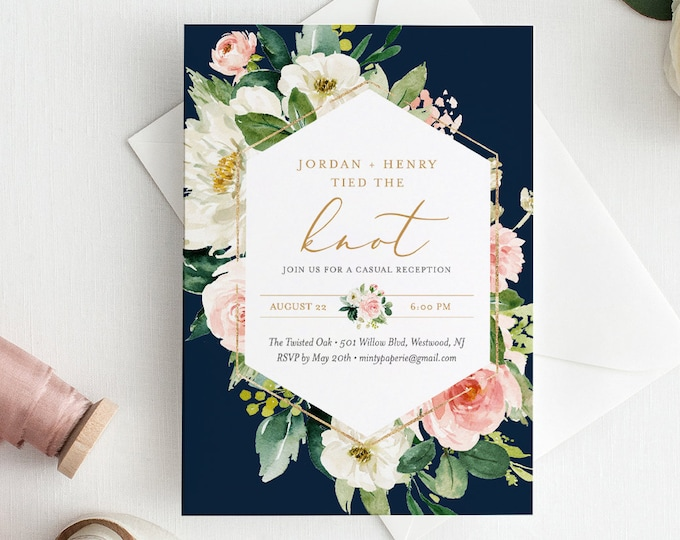 Elopement Invitation Template, Tied the Knot, INSTANT DOWNLOAD, Printable Reception Party, 100% Editable Text, Boho Floral Navy #043-115EL