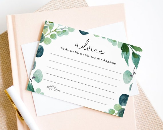 Advice Card Printable, Greenery Wedding Well Wishes for Bride and Groom, Bridal Shower Advice, Instant Download, Editable Template 068-121EC