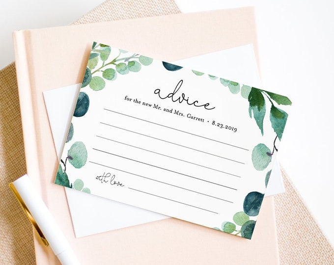 Advice Card Printable, Greenery Wedding Well Wishes for Bride & Groom, Bridal Shower Advice, Instant Download, Editable Template 068B-121EC