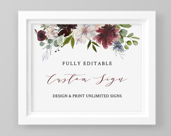 Custom Wedding Sign Template, Self-Editing Template, Create Unlimited Signs, INSTANT DOWNLOAD, Printable, Burgundy Floral, Boho #040-111CS