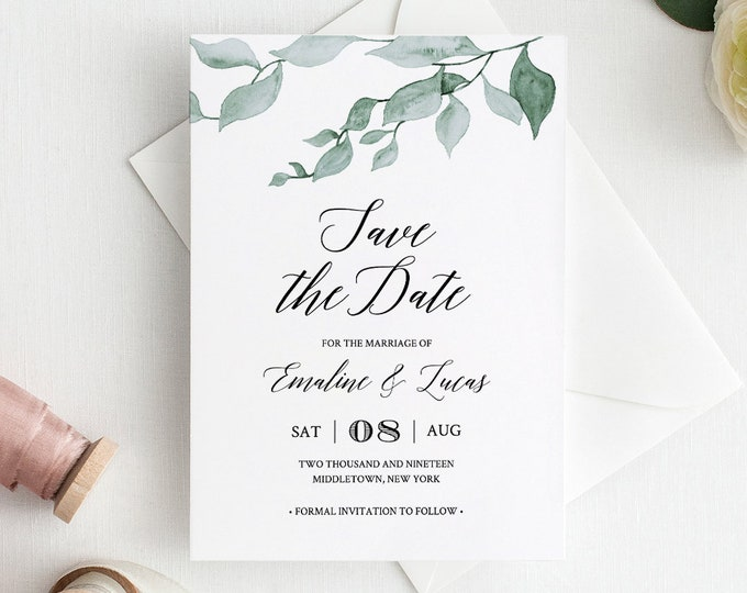 Watercolor Save the Date Template, Greenery Wedding, Delicate Leaves, Printable, Instant Download, 100% Editable, DIY, Templett #019-103SD