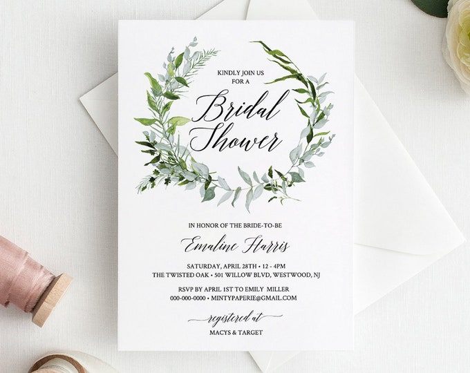 Bridal Shower Invitation Template, Greenery Wedding Shower Invite, Watercolor Wreath, 100% Editable Template, Instant Download #016-108BS