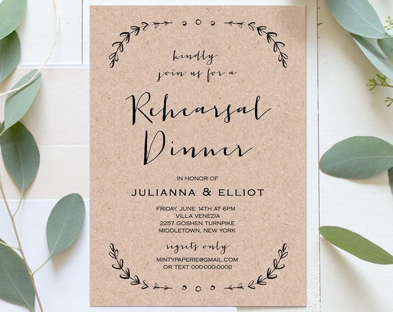 Rustic Rehearsal Dinner Template, Printable Rehearsal Invitation, Fully Editable, Rehearsal Dinner Invite, Instant Download, DIY #031-112RD