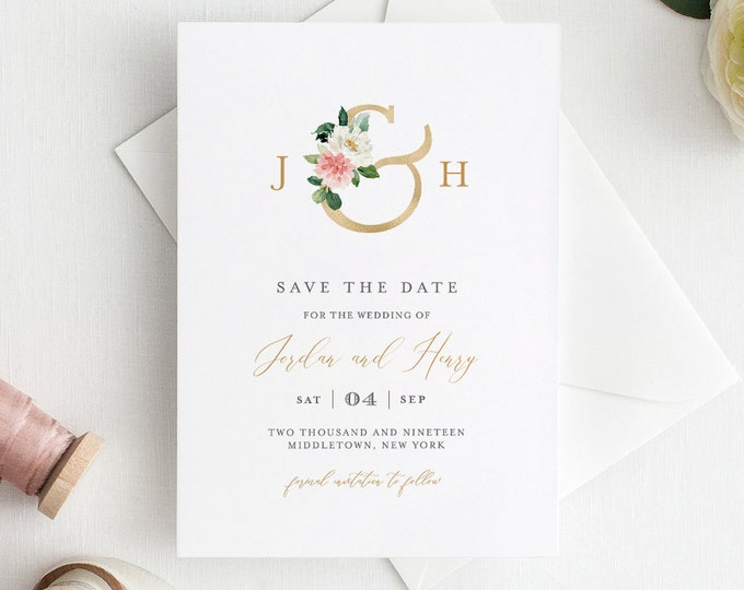 Monogram Save the Date Template, INSTANT DOWNLOAD, 100% Editable Text, Printable Floral & Gold Wedding, DIY, Templett, Digital #043-132SD