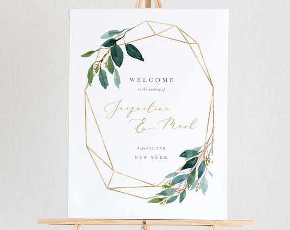 Welcome Sign Template, Instant Download, Greenery and Gold Wedding Sign, 100% Editable, US & UK Poster Sizes #044-118LS