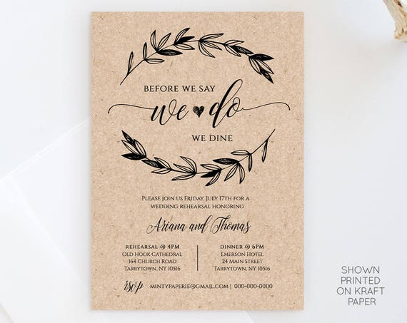 Rustic Wedding Rehearsal Invitation, INSTANT DOWNLOAD, Printable Rehearsal Dinner Invite, Fully Editable Template, Digital #023-101RD