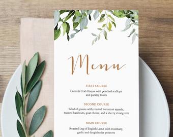 Self-Editing Menu Template, INSTANT DOWNLOAD, Printable Wedding Dinner Menu, Greenery & Gold, Wedding Reception Card, Templett #016-111WM