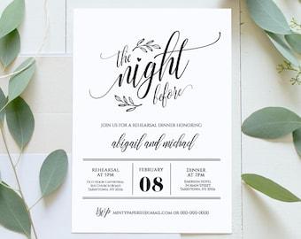Wedding Rehearsal Dinner Printable, DIY Rehearsal Invitation Template, Night Before, Instant Download, Fully Editable, Digital #020-107RD