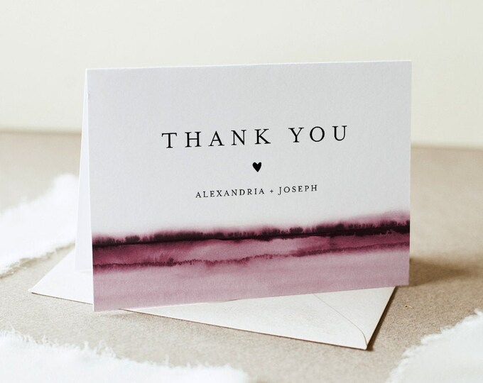 Watercolor Thank You Folded Card Printable, Burgundy Wedding / Bridal Shower Note, Editable Template, INSTANT DOWNLOAD, Templett 093B-149TYC