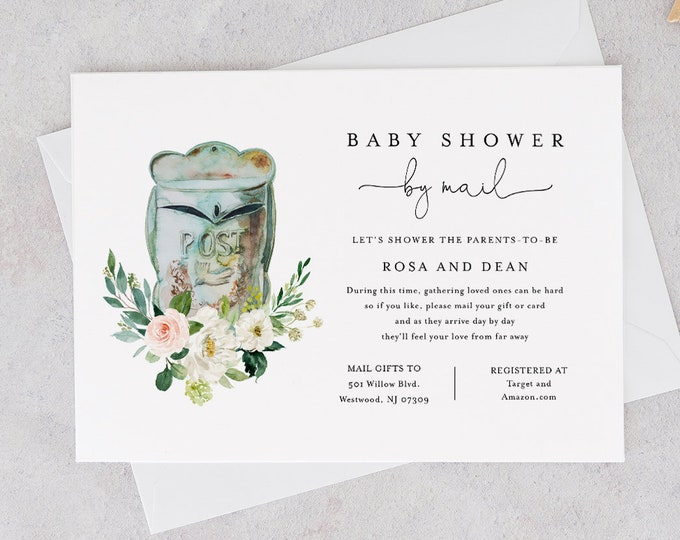 Baby Shower by Mail Template, Social Distancing Baby Shower Invite, Virtual Baby Shower, Editable Text, Instant Download, Templett #153BA