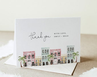 Charleston Thank You Folded Card, Rainbow Row Wedding / Bridal Shower Note, Editable Template, Instant Download, Templett #017B-153TYC
