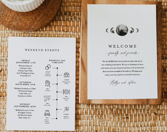 Celestial Wedding Itinerary, Welcome Letter Template, Printable Welcome Bag Note, Order of Events, Agenda, Timeline, Templett #0003-155WB