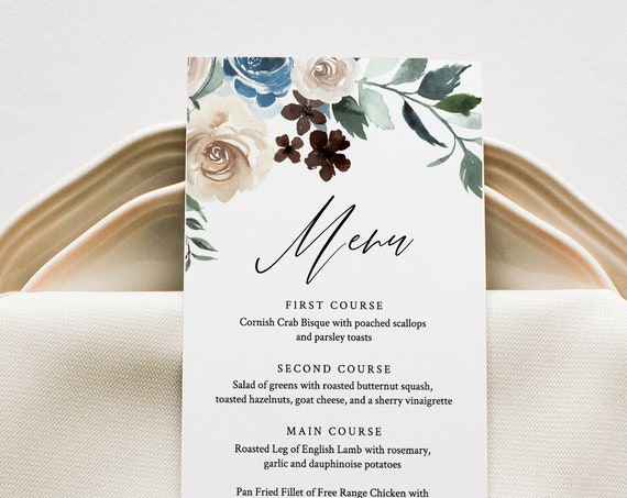 Wedding Menu Card Template, Cream and Blue Florals, Wedding Dinner Menu Card, INSTANT DOWNLOAD, Editable, Printable, Templett #077-139WM