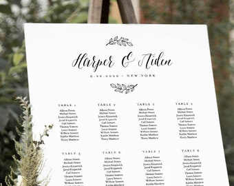 Modern Calligraphy Seating Chart Poster, Wedding Seating Sign, Instant Download, Editable Template, Templett US & UK Sizes #039-264SC