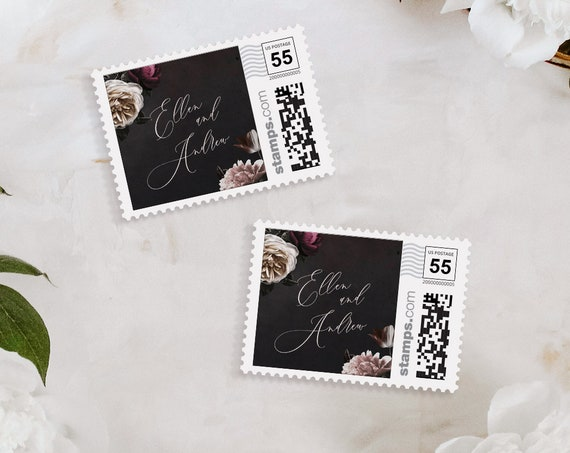 Custom Postage Stamp Template, Moody Floral Wedding Envelope, Photostamps.com, DIY, Instant Download, 100% Editable Text, Templett 009-106PS