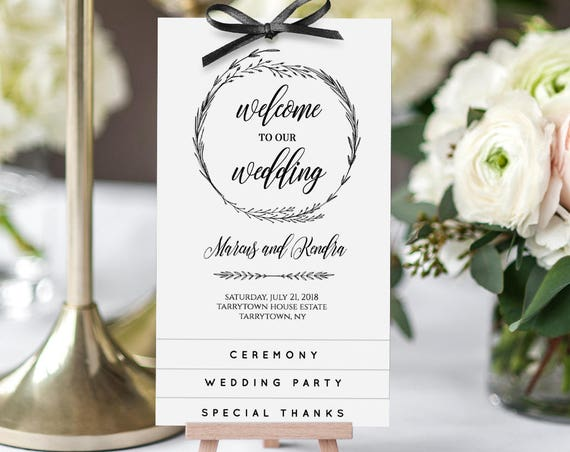 Wedding Program, Tiered Wedding Program Printable, Order of Service, DIY Rustic Ceremony Program, Instant Download, 100% Editable #022-302WP