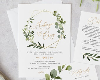 Greenery Wedding Invitation Template, Printable Invite, RSVP and Details, INSTANT DOWNLOAD, 100% Editable Text, DiY, Boho Wreath #056B