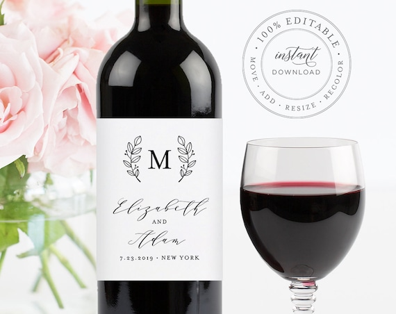 Wine Bottle Label Template, Printable Wedding Wine Label, INSTANT DOWNLOAD, 100% Editable, Custom Monogram Label, Personalized #037-104WL