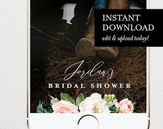 Self-Editing Bridal Shower Geofilter, SnapChat Filter, Blush Florals & Greenery, INSTANT DOWNLOAD, 100% Editable, Templett  #043-108GF