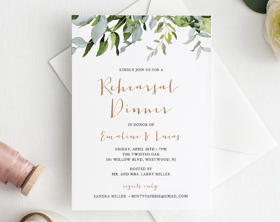 INSTANT DOWNLOAD, Rehearsal Dinner Invitation Template, Watercolor Greenery Wedding Rehearsal Invite, Printable, 100% Editable #016-118RD