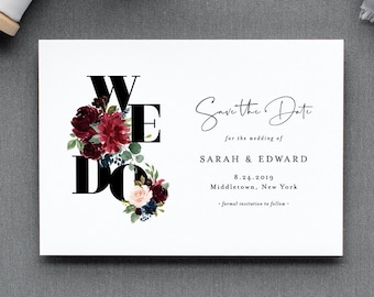 Save the Date Template, We Do Burgundy & Blush Florals, Instant Download, 100% Editable Text, Templett, Fall Winter Boho Wedding #062-140SD