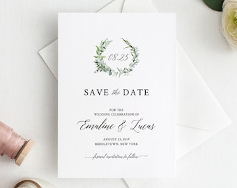 Save the Date, INSTANT DOWNLOAD, Greenery Wedding Date Card, Watercolor Wreath, Printable, 100% Editable Template, DIY, Templett #016-104SD
