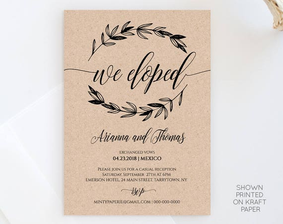 Elopement Announcement Template, Wedding Elope Invitation Printable, We Eloped, We Eloped, Instant Download, Fully Editable, DIY #023-102EL