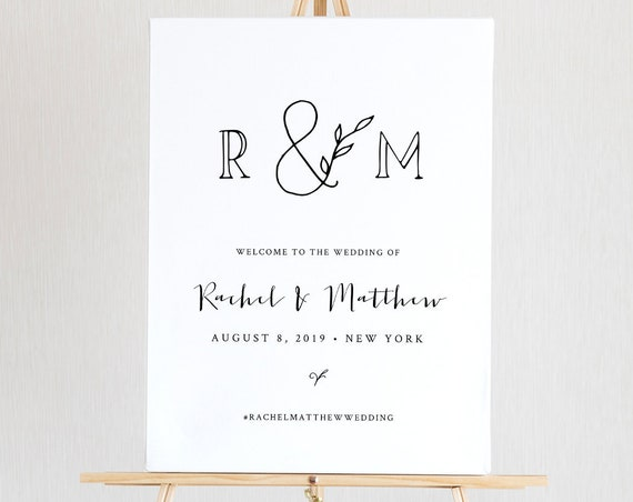 Wedding Welcome Sign Template, Printable Rustic Welcome Poster, Wedding Monogram, Instant Download, 100% Editable, Templett, DIY #042-131LS