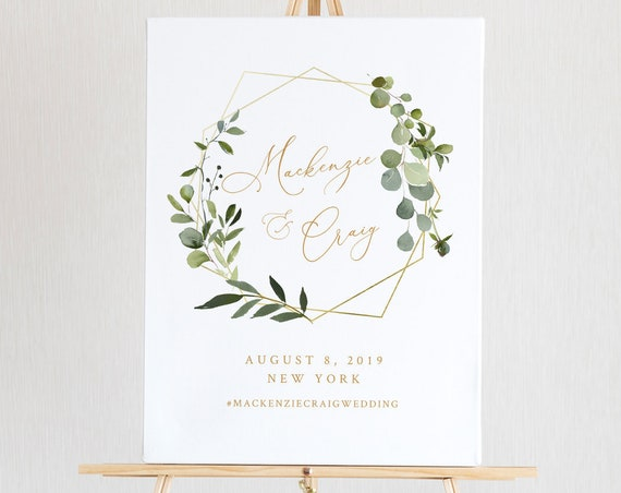 Wedding Welcome Sign Template, Instant Download, 100% Editable Text, Printable Bridal Shower Sign, Greenery & Gold, Templett, DIY #056-128LS