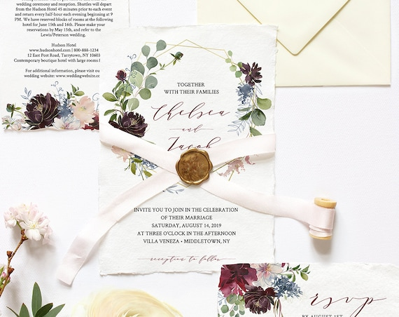 Wedding Invitation Template, Printable Wedding Suite, INSTANT DOWNLOAD, 100% Editable, Invite, RSVP & Details, Floral Burgundy / Gold #040