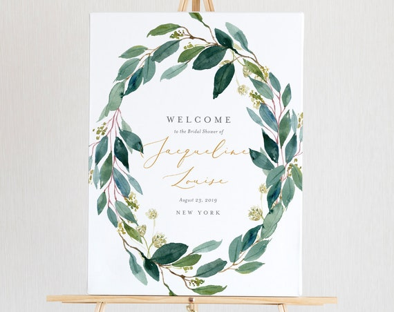 Bridal Shower Welcome Sign Template, Instant Download, 100% Editable Text, Printable Wedding Poster Sign, Greenery, US & UK Sizes #044-119LS