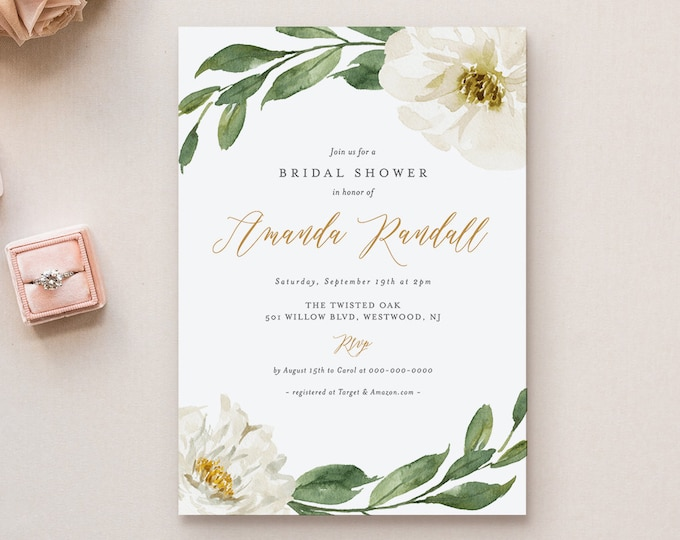 Bridal Shower Invitation Template, Printable Watercolor Cream Florals & Greenery Shower Invite, Editable Text, INSTANT DOWNLOAD #067-182BS