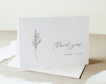 Lavender Thank You Card, Minimalist Wedding / Bridal Shower, Editable Template, Instant Download, Flat & Tent, Templett #0006C-163TYC