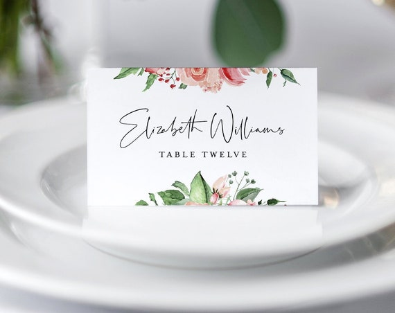 Place Card Template, Printable Boho Floral Wedding Escort Card, Name Card, Seating Card, 100% Editable Text, INSTANT DOWNLOAD #058-127PC